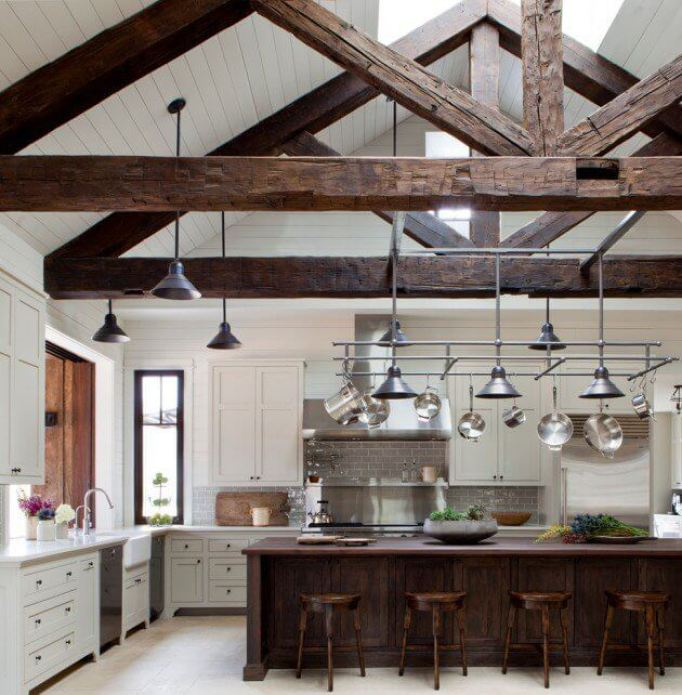 Wooden Kitchen Island and Stools for More Rustic Look