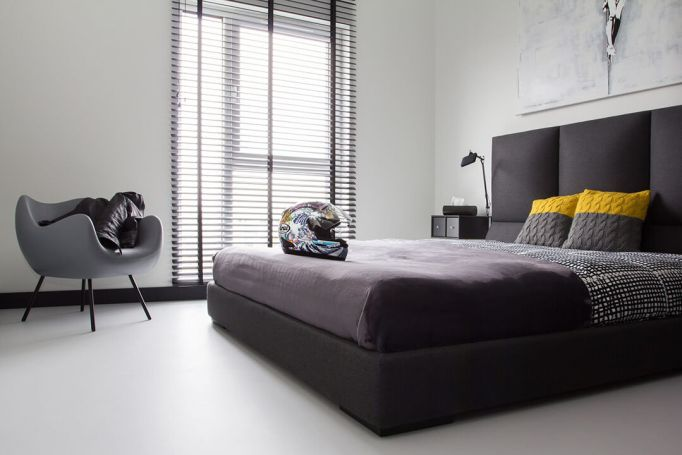 black and gray bedroom