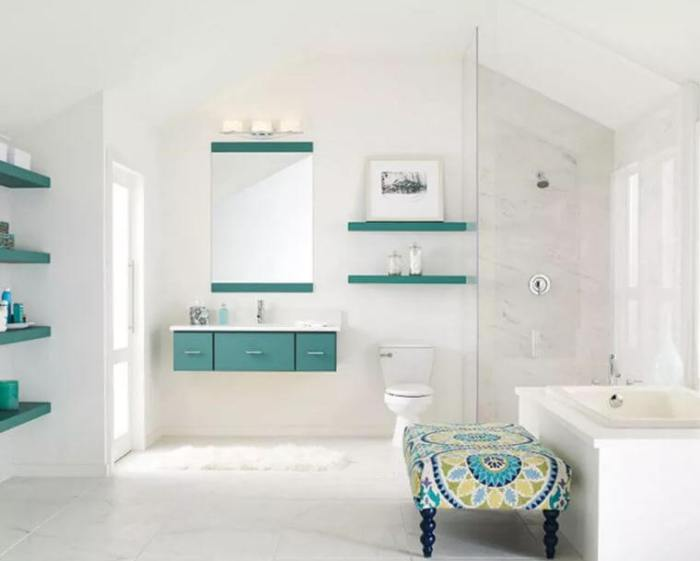 White Relaxing Bathroom with A Simple Pop of Color