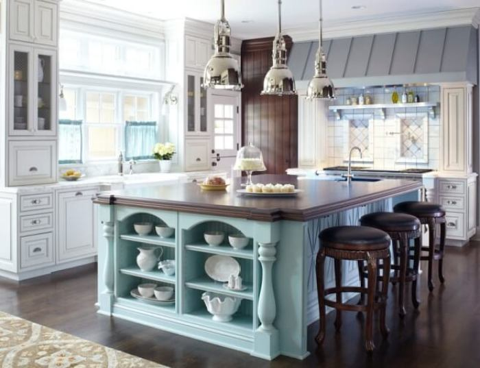 large kitchen island with seating for 6