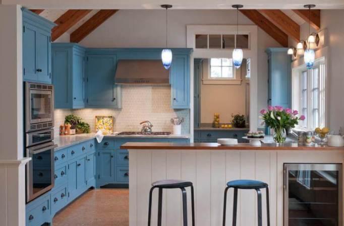 blue kitchen cabinet paint