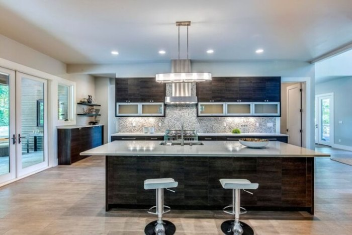 large kitchen island with seating and storage