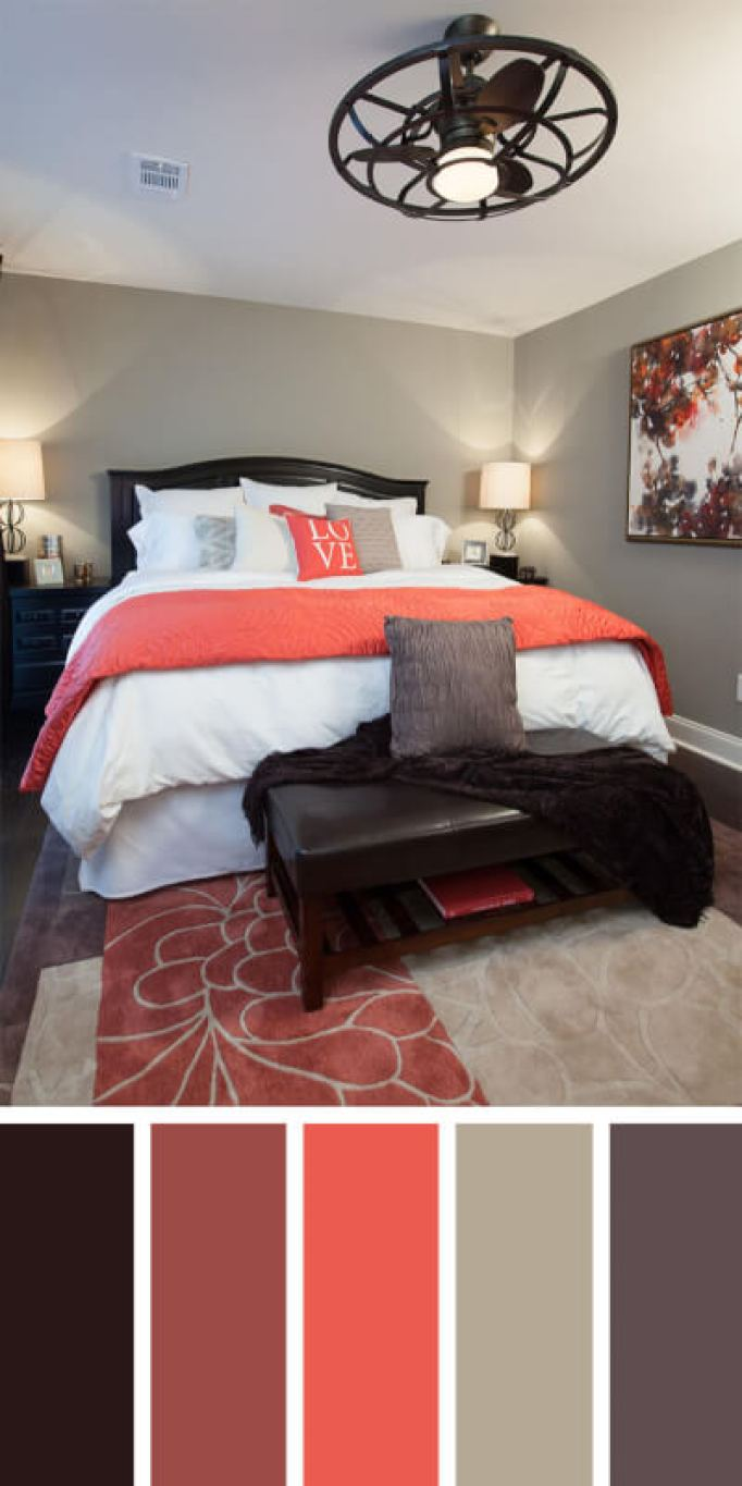 bedroom color schemes with brown furniture
