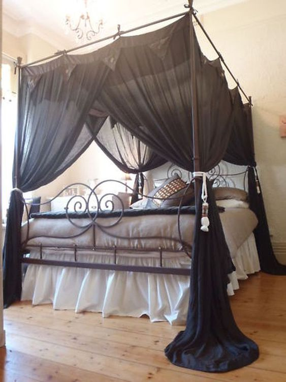 black canopy bed curtains & 15 Canopy Bed Curtains That Might Suit Your Fancy - Reverb