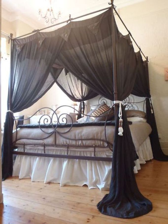 15 canopy bed curtains that might suit your fancy reverb - Black canopy bed curtains ...