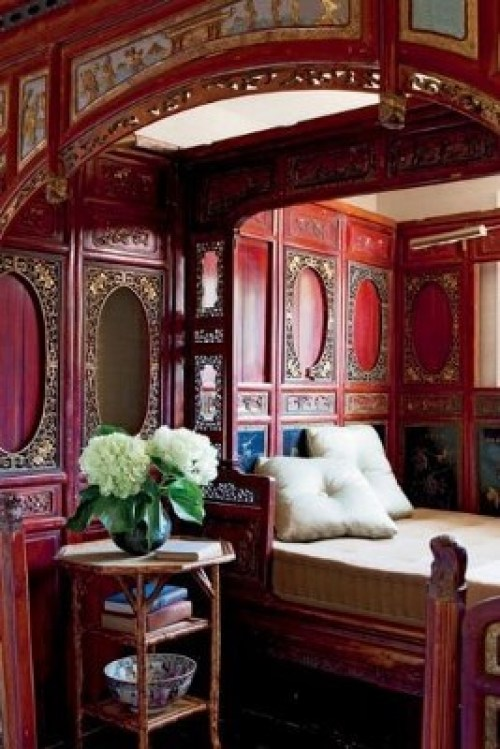 red bedroom accent wall