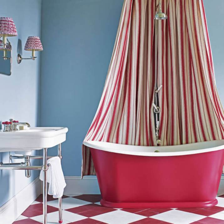 Blue and Pink Bathroom