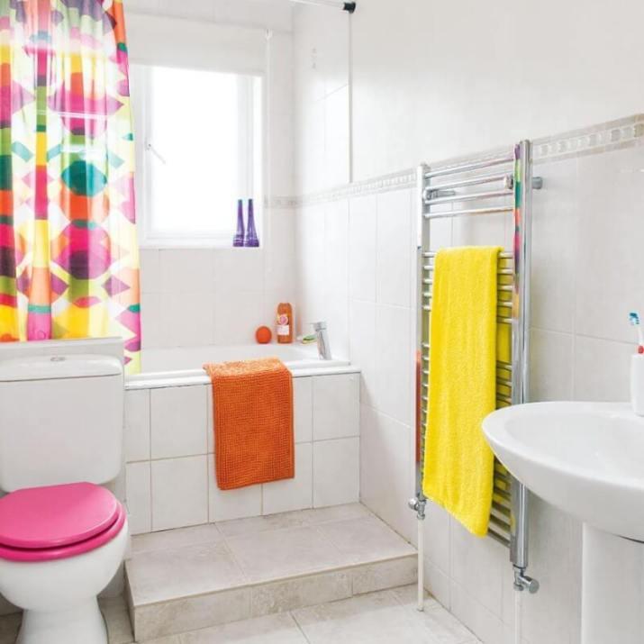 pink bathroom window curtains