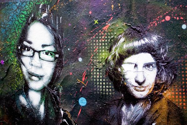 Portrait peint en pochoir par FinDAC de Londres