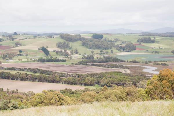 La rivière de Forth, Mt Montgomery et Ulverstone au loin sur la droite