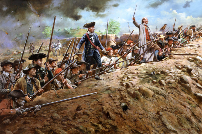"""Colonial militia await another assault by British Regulars at Bunker Hill... """"Don't fire until you see the whites of their eyes!"""""""