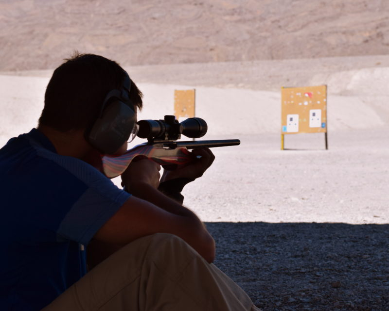 Afsheen in the process of qualifying as a sharpshooter!