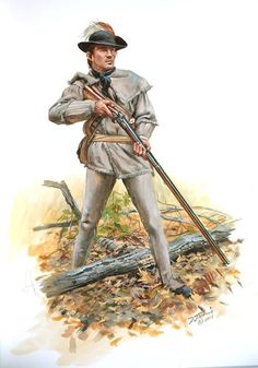 A Revolutionary War Rifleman clad in practical earth tones.