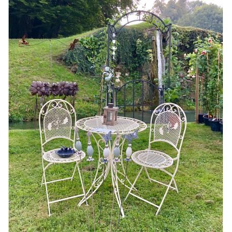 salon de jardin 2 personnes salon de the bistrot 1 table 2 chaises pliables en fer blanc