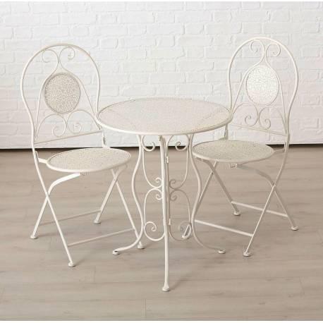 salon de jardin salon de the 2 places personnes table bistrot et 2 chaises pliantes en fer blanc