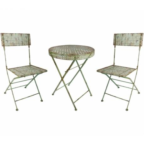 salon de jardin salon de the 2 places personnes table bistrot et 2 chaises pliantes en fer vert antique