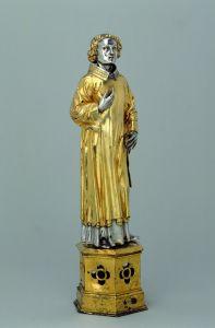 Reliquien-Statuette des Heiligen Laurentius, aus Senden (um 1390). (LWL-Landesmuseum für Kunst und Kulturgeschichte, Münster / Foto: Sabine Ahlbrand-Dornseif)