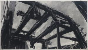 """Constantin Jaxy (Preisträger 1987): """"Titan"""" (Kreide, Tusche, Graphit auf Karton, kaschiert auf Leinwand). (Kunsthalle Recklinghausen / Foto: Bernd Berke)"""