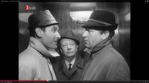 Kommissar Keller (Erik Ode, Mitte), Inspektor Heines (Reinhard Glemnitz, links), Inspektor Grabert (Günther Schramm (rechts). (© ZDF/3Sat - Screenshot von: http://www.youtube.com/watch?v=_8_JB6R_WeM)