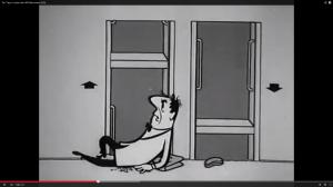 HB-Männchen Bruno scheitert an einem Paternoster-Aufzug (Screenshot aus: http://www.youtube.com/watch?v=5R6384xqWx4)