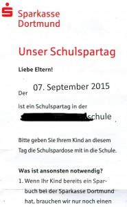 Ausschnitt aus dem Handzettel der Sparkasse Dortmund. (Repro: BB)