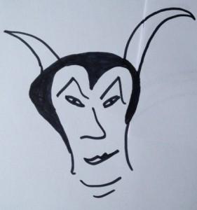 """Wenn Theaterfotos honorarpflichtig sind, zeichnet schon mal die Rezensentin: """"Mephisto""""-Ansicht von Eva Schmidt."""