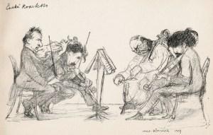 Das Böhmische Streichquartett mit Josef Sue, 2. Violine (2.v.l.). Eine Zeichnung von Hugo Boettinger (1907).