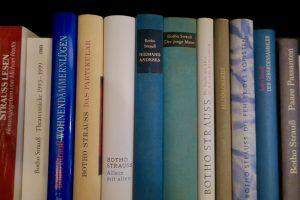 Blick ins Regal: bei Hanser erschienene Bücher von Botho Strauß. (Foto: Bernd Berke)