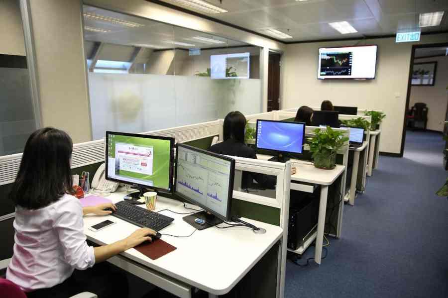 Imagem mostra diversas pessoas em um escritório, cada uma trabalhando em seu computador.