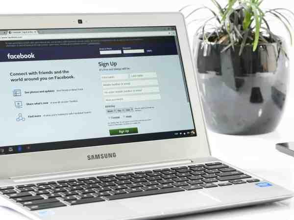 Notebook Samsung com jarro de planta ao fundo.