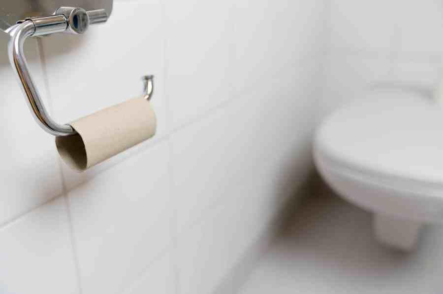 Imagem de um rolo de papel higiênico vazio em um banheiro.