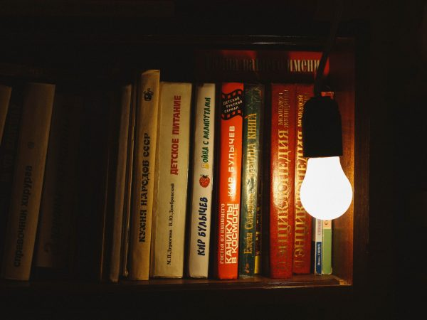Luminária com lâmpada bulbo sobre estante de livros