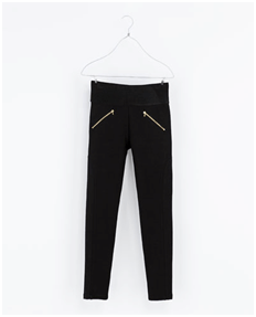 96fa1d25ff2c7 I recently purchased a pair of leggings with gold zippers from Zara for  $40. It has a very wide elastic waist band, gold side zippers and seams  down the ...