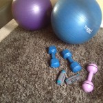 stability balls and some light weights