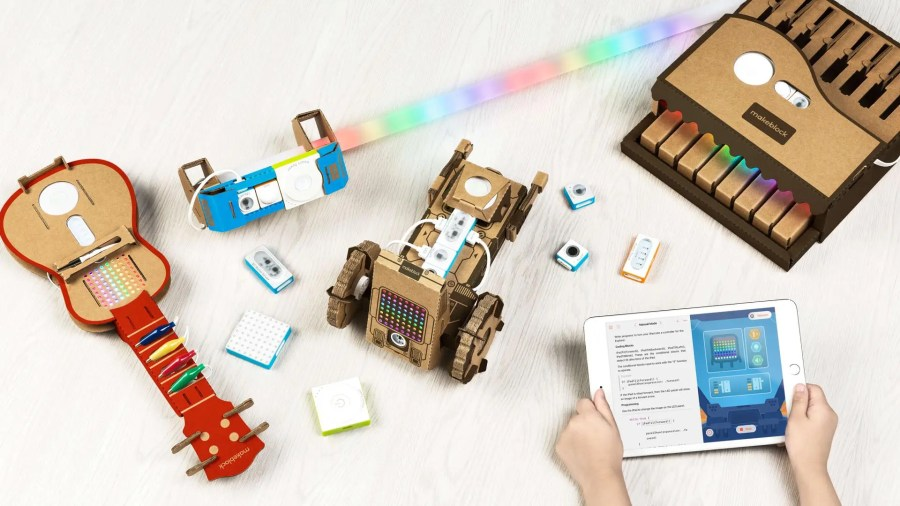 colorful cardboard toys with LED lights from the Makeblock company
