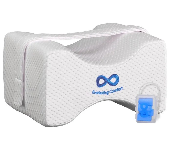 Everlasting Comfort 100% Pure Memory Foam Knee Pillow with Adjustable & Removable Strap and Ear Plugs
