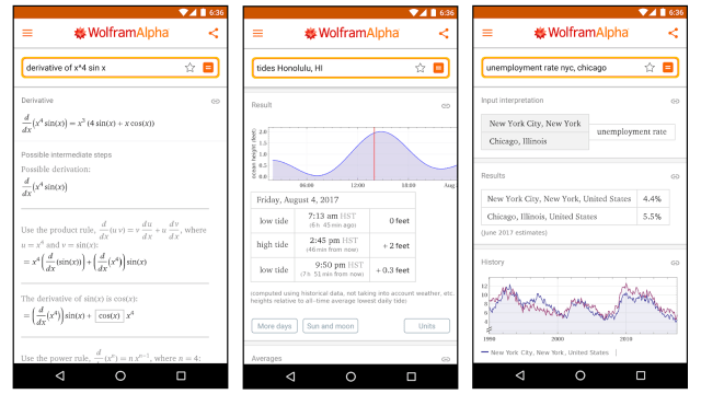 Learn how to solve math problems and study other topics with Wolfram Alpha's app