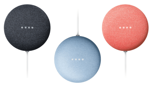 Google Nest Mini in charcoal, sky, and coral colors