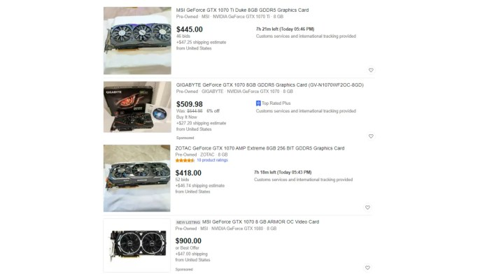 Multiple eBay listings of the GTX 1070 for marked-up prices
