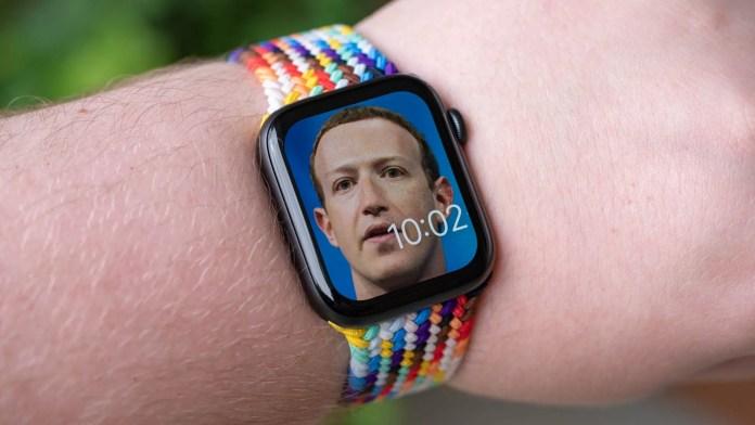 Mark Zuckerberg's face on a smart watch.