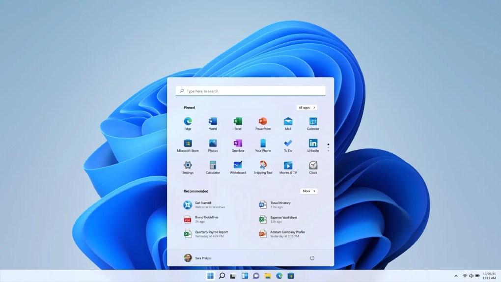 Giao diện người dùng Windows 11.