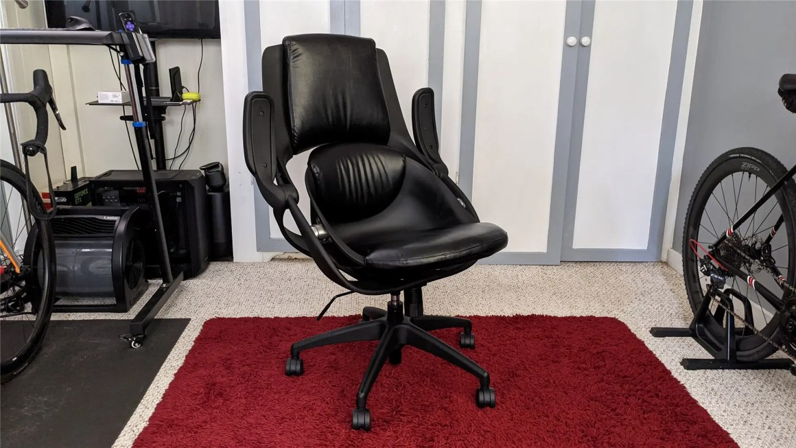 The BackStrong C1 chair with the arms up