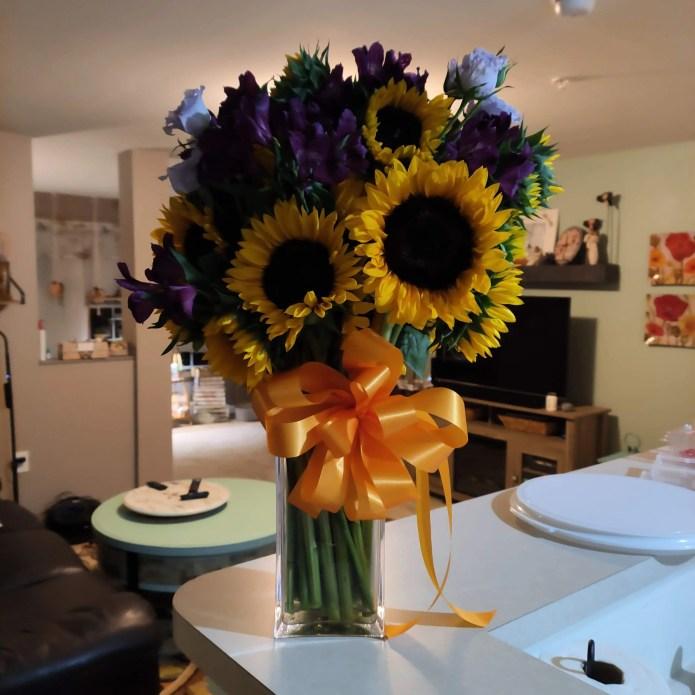 Bouquet of flowers in transparent vase