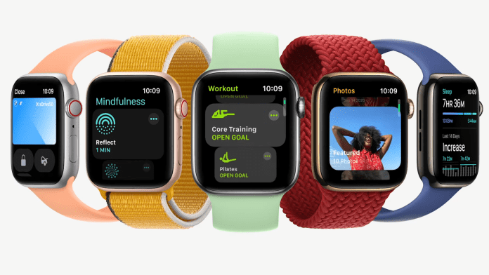 Apple Watch Series 7 in various angles and band colors ands styles