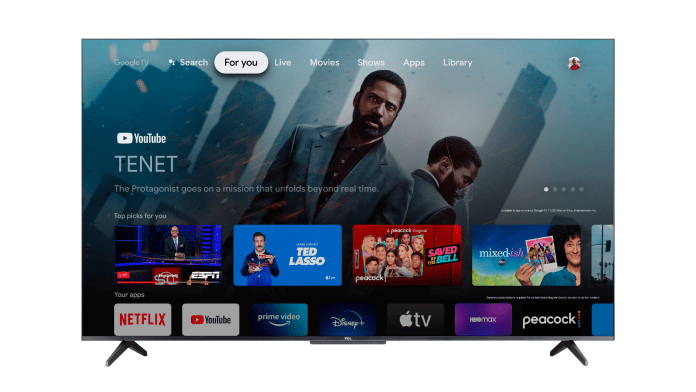 A TCL smart TV with Google TV software.
