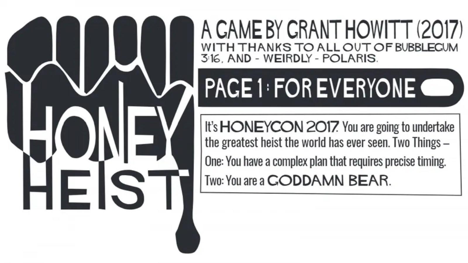Honey Heist game logo of honey dripping off bear paw
