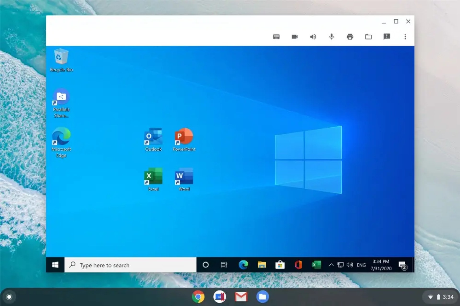 Windows with four major Office apps running on Chrome OS