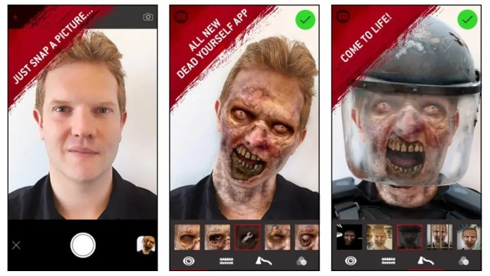 The Walking Dead Dead Yourself app turn your face into a zombie face