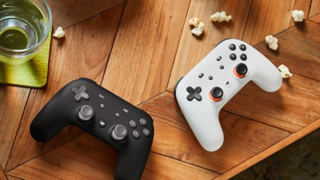 Two Stadia controllers.