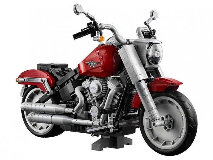 The completed LEGO Harley-Davidson Fat Boy motorcycle.